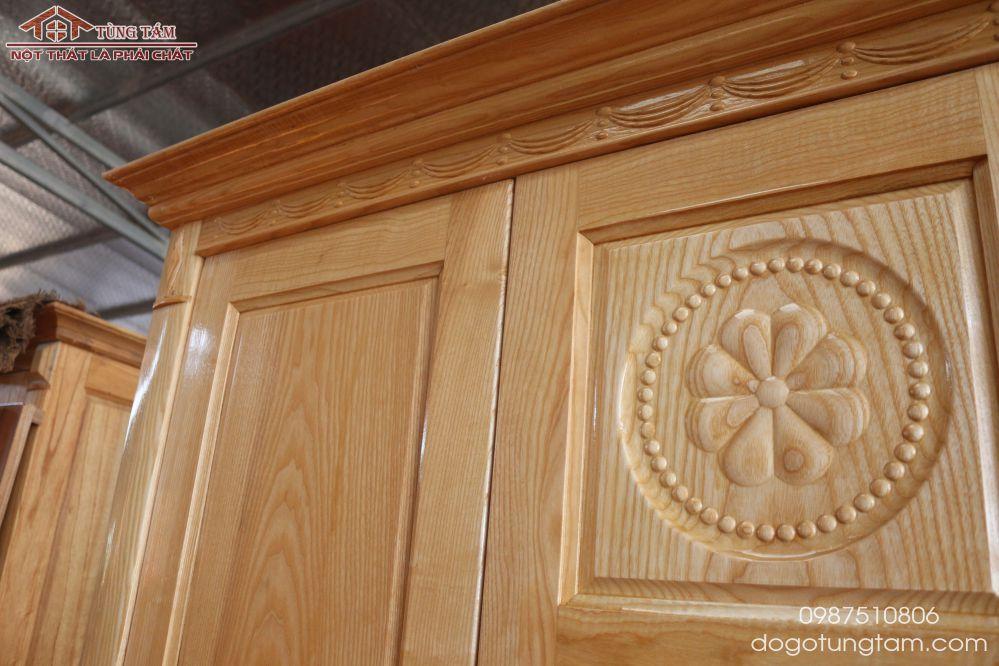 mẫu tủ áo 4 cánh gỗ sồi nga tại việt trì phú thọ
