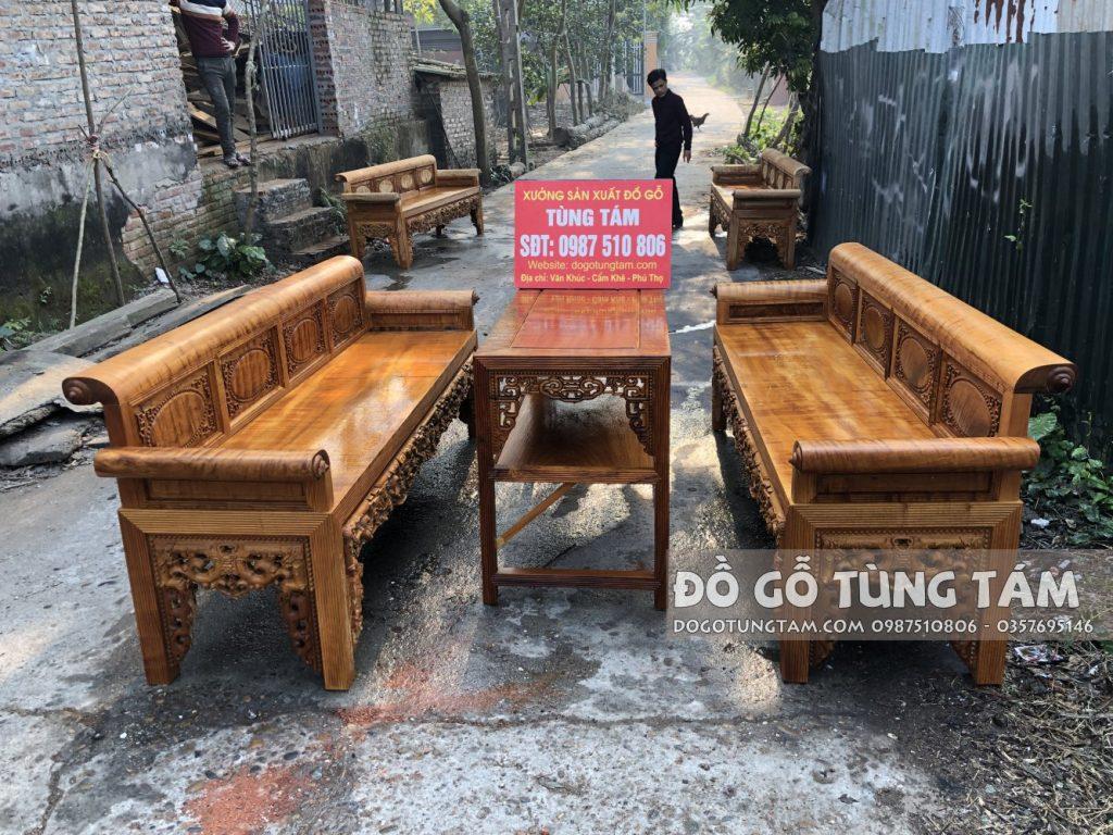 Bộ ghế trường kỷ gỗ đinh thối chọn vân chun